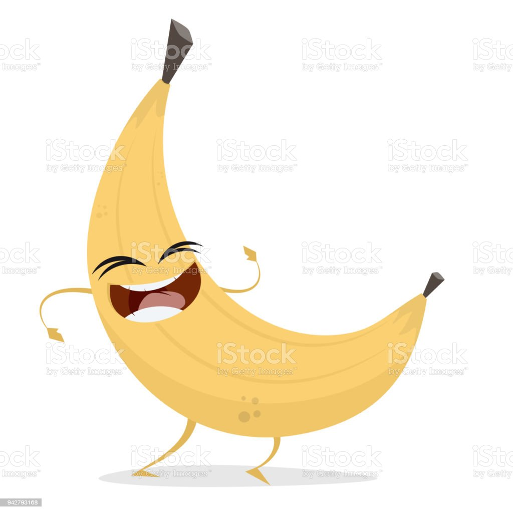happy banana clipart vector art illustration
