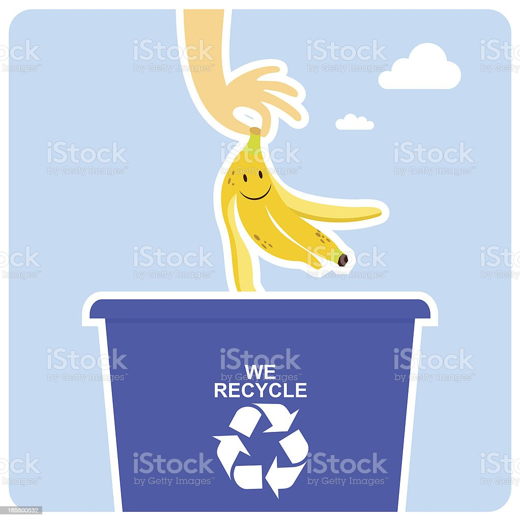 A happy banana peel going into the recycling bin royalty-free stock vector art