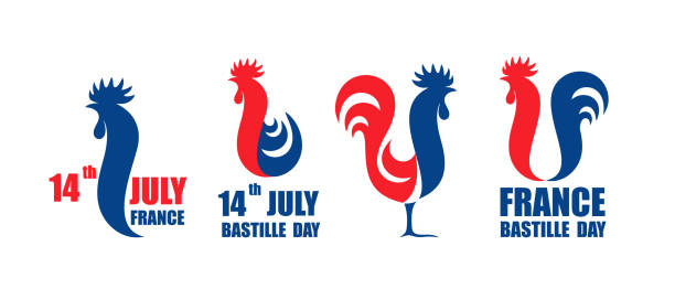 Happy Bastille Day, 14 July. Viva France National Day. French rooster. Isolated rooster on white background EPS 10. Vector illustration rooster stock illustrations
