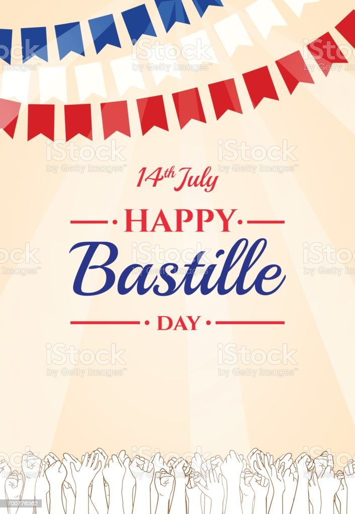 Happy Bastille day, 14th July. French holiday vector art illustration