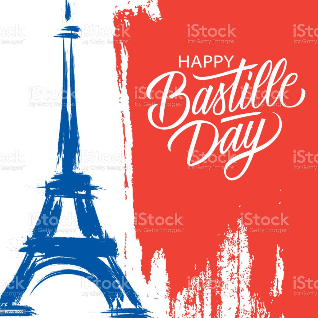 Happy Bastille Day, 14th of July brush stroke holiday greeting card in colors of the national flag of France with Eiffel tower and hand lettering. vector art illustration