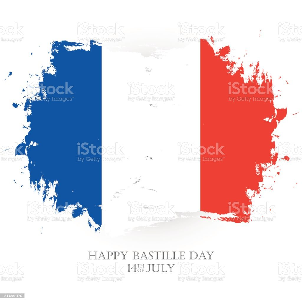 Happy Bastille Day. 14th of July holiday greeting card with french national flag brush stroke background. vector art illustration
