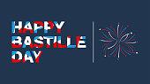 Happy Bastille Day banner lettering in French flag color. Vector illustration. EPS10