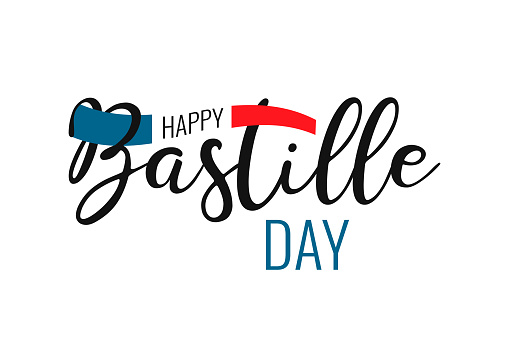 Happy Bastille day France national holiday. Concept design poster, banner, flyer, greeting card. Hand drawn text with french nation flag on white background. Vector illustration