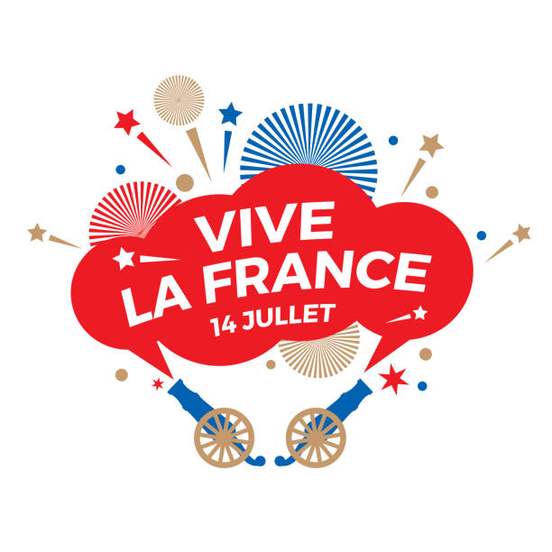 Happy Bastille Day. National holiday. A holiday sign with a salute and the words