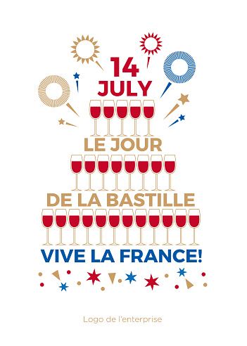 Happy Bastille Day. The day of the capture of the Bastille. Greeting card.