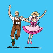 Vector illustration of a happy bavarian couple in Dirndl and Lederhosen. They are dancing at the Oktoberfest. The line art, color and background are on separate layers, so you also can use the illustration on your own background. The colors in the .eps-file are ready for print (CMYK). Included files: EPS (v8) and Hi-Res JPG.