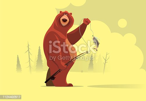 vector illustration of happy bear catching fish