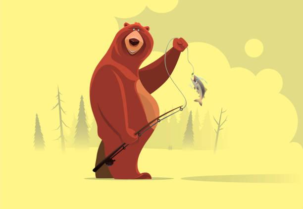 happy bear catching fish - bear stock illustrations