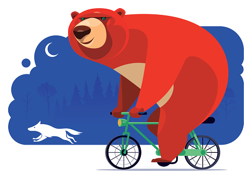 happy bear cycling with wolf at night