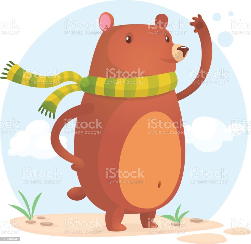 Happy bear in scarf. Vector cartoon isolated vector art illustration