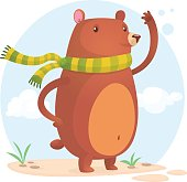 Happy bear in scarf. Vector cartoon isolated