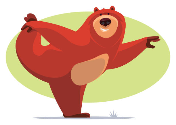 happy bear stretching vector illustration of happy bear stretching yogi stock illustrations