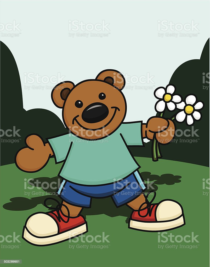 Happy Bear with Flowers royalty-free happy bear with flowers stock vector art & more images of animal