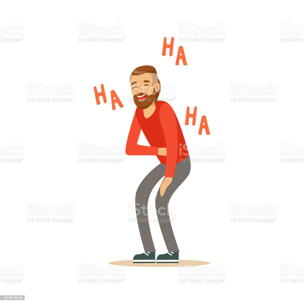 Happy bearded man laughing out loud and holding his stomach colorful character vector Illustration vector art illustration