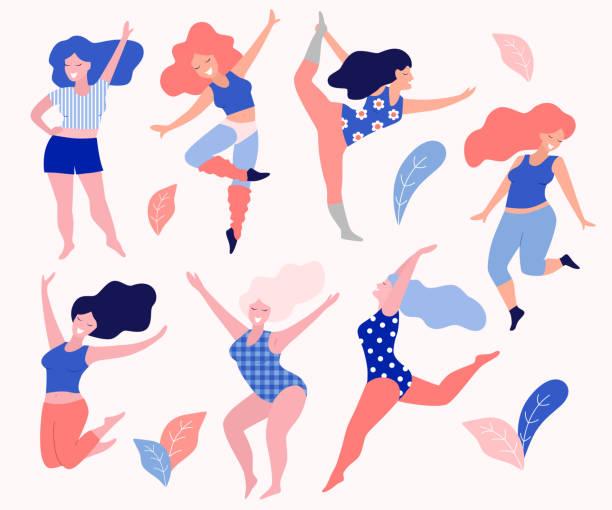 Happy beautiful active plus size girls. Body positive concept. Vector flat illustration. body positive stock illustrations