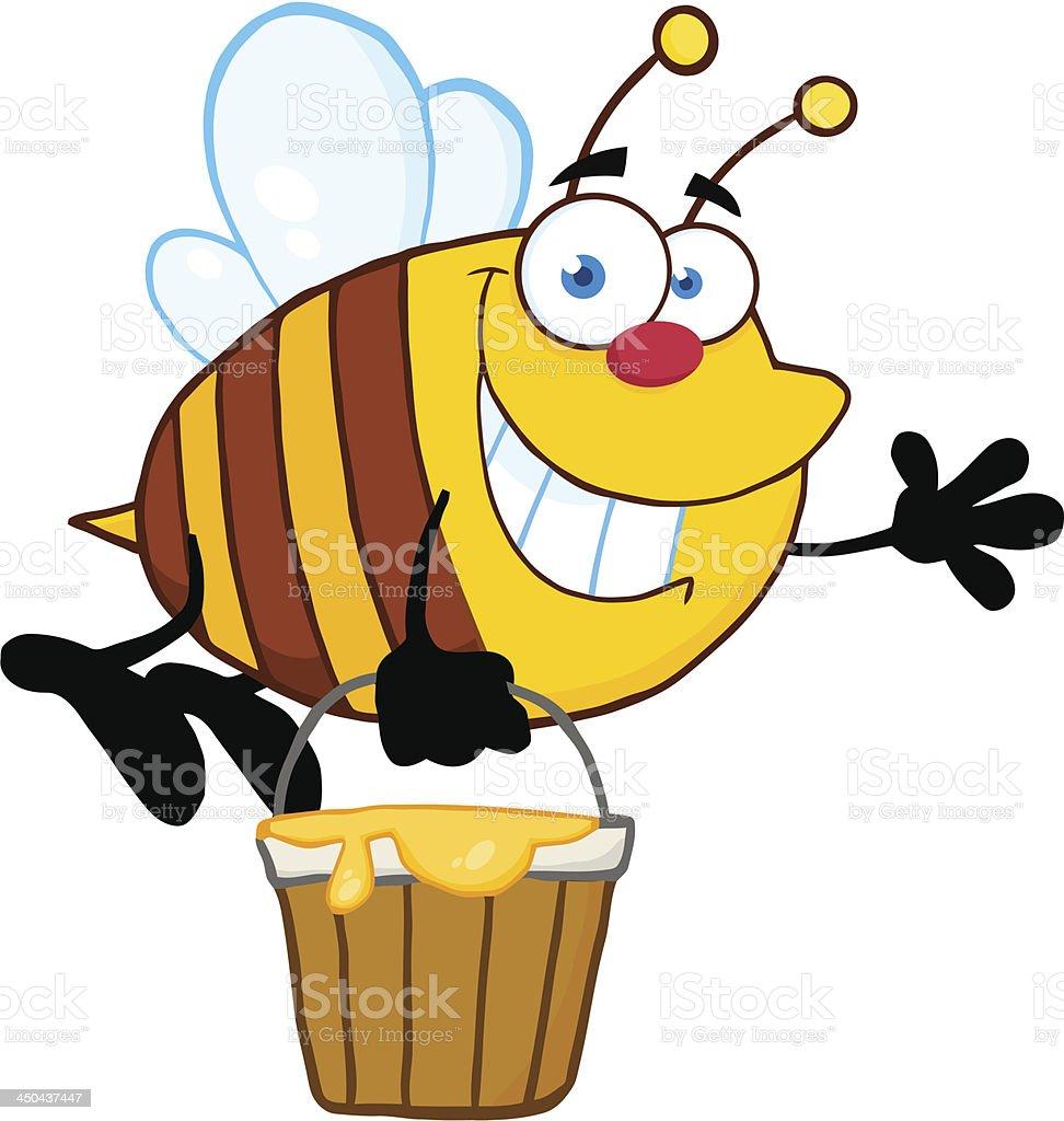 Glücklich Biene fliegt mit Honig Bucket – Vektorgrafik