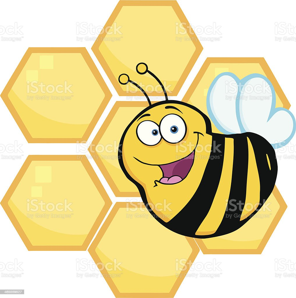 Happy Bee In Front Of A Orange Hives royalty-free stock vector art