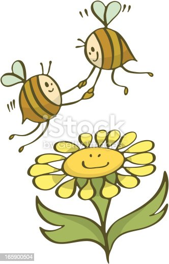 Happy bees in love holding hands and flying over a smiling cartoon flower.