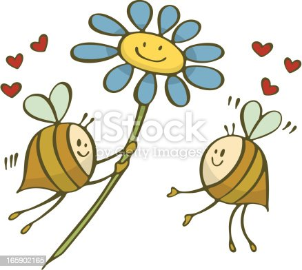 Happy bees in love.  One gives the other a valentine flower.  Heart.