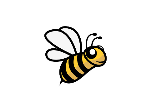 Happy bee open wings and fly for logo design