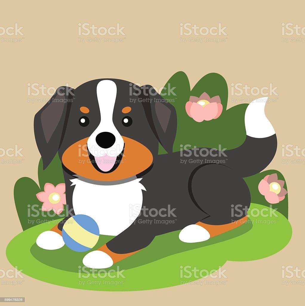 Happy Bernese Mountain Dog vector art illustration