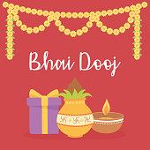 istock happy bhai dooj, gift food light flowers decoration, indian family celebration 1279231479