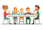 Happy big family eating dinner together vector illustration. Family together dining, mother father with children