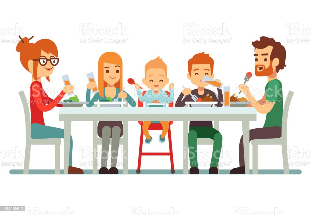 Happy big family eating dinner together vector illustration vector art illustration