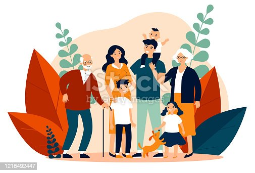 istock Happy big family standing together flat vector illustration 1218492447
