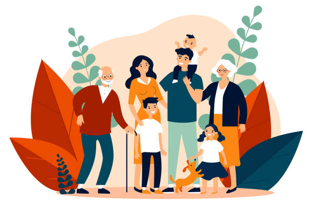 Happy big family standing together flat vector illustration Happy big family standing together flat vector illustration. Grandma, grandpa, mom, dad, children, and pet. Smiling cartoon characters gathering in group. brother stock illustrations