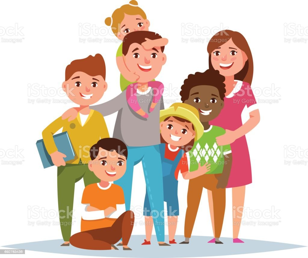 royalty free foster family clip art vector images illustrations rh istockphoto com one big family clipart big family clipart black and white