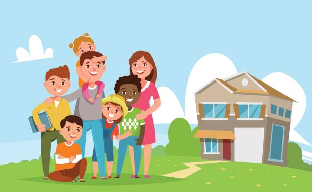 illustrazioni stock, clip art, cartoni animati e icone di tendenza di happy big international family standing together - family home