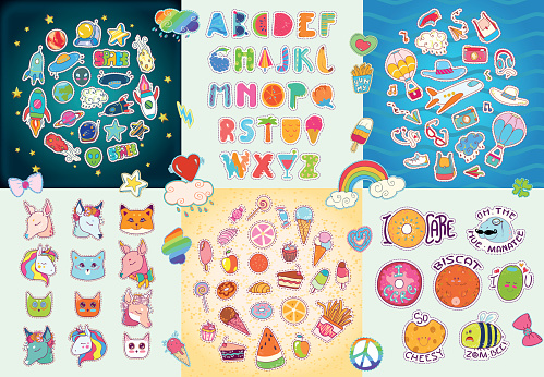 Happy Big patches set, colorful collection.