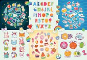 Happy Big patches set, colorful collection with hearts, stars, rainbow, tasty food, traveling and space stickers, summer Alphabet, decorative elements... Hand drawn vector Illustration, retro style.