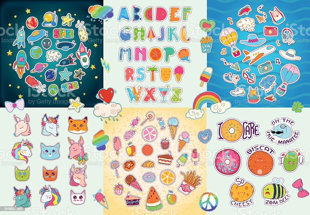 Happy Big patches set, colorful collection. ベクターアートイラスト