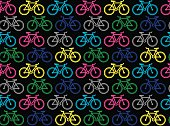 Vector illustration of seamless pattern with colorful bikes on a black background in a pop art style.