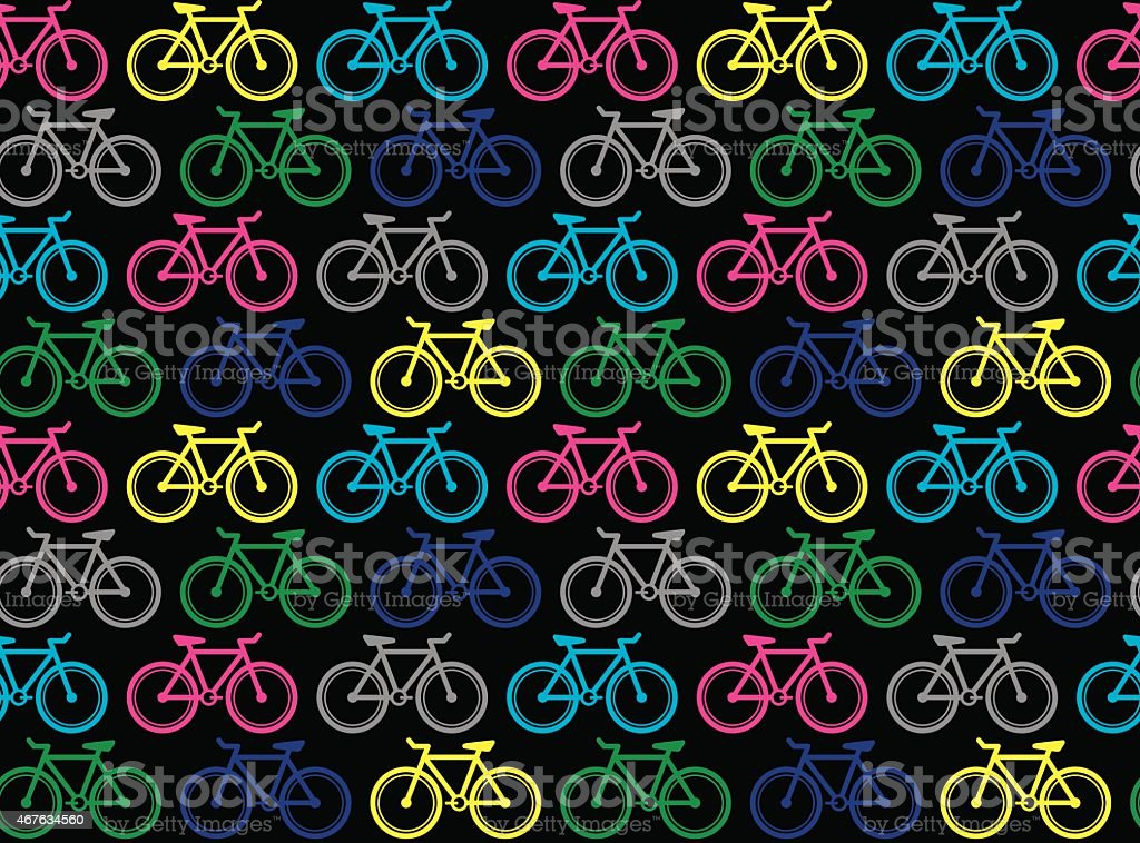 Happy bikes (Seamless pattern pop art style) vector art illustration