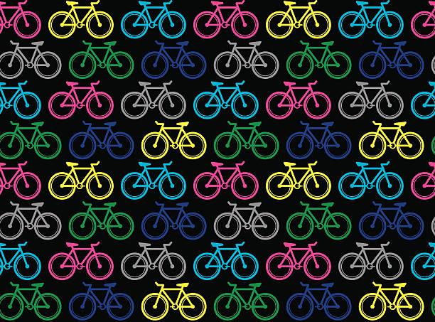 happy fahrräder (nahtlose muster pop-art-stil) - lustige fahrrad stock-grafiken, -clipart, -cartoons und -symbole