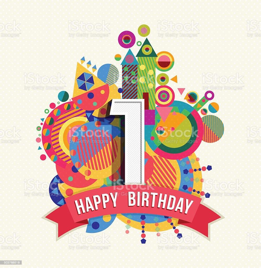 Favoloso Buon Compleanno Un Anno Di Auguri Poster Di Colore Illustrazione  QC79