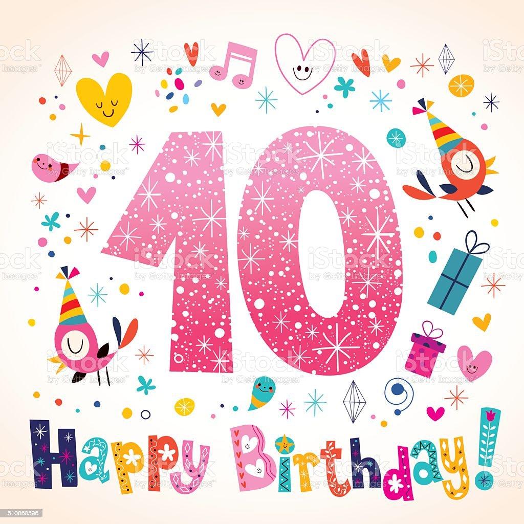 Alles Gute Zum Geburtstag Grußkarte Mit 10 Jahre Kinder Lizenzfreies Vektor  Illustration