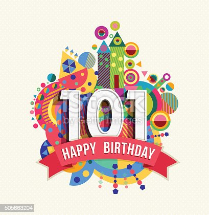 istock Happy birthday 101 year greeting card poster color 505663204
