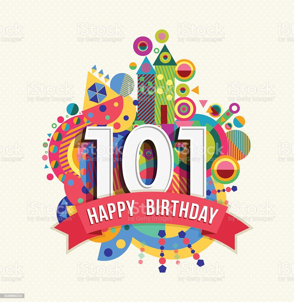 101 Jahr alles Gute zum Geburtstag Grußkarten, poster, Farbe – Vektorgrafik