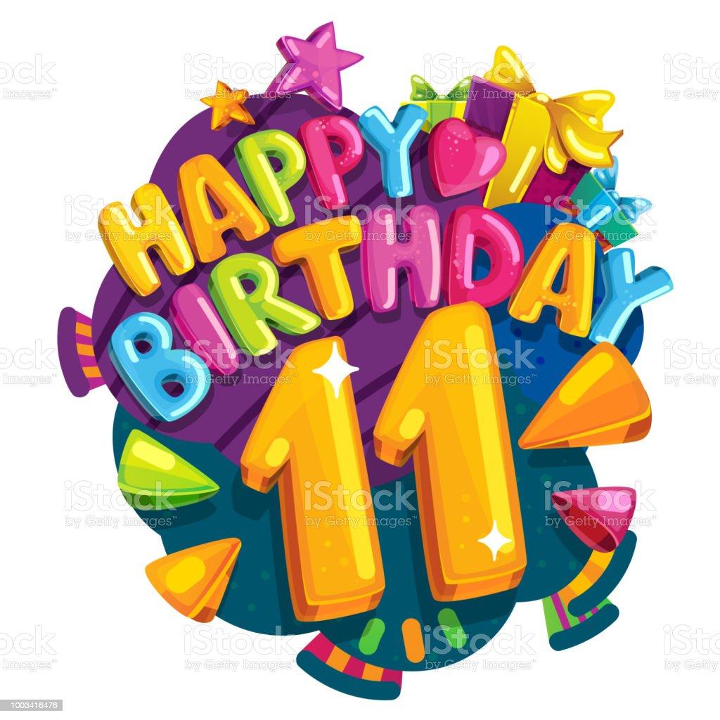 Uitgelezene Happy Birthday 11 Years Stock Illustration - Download Image Now JX-08