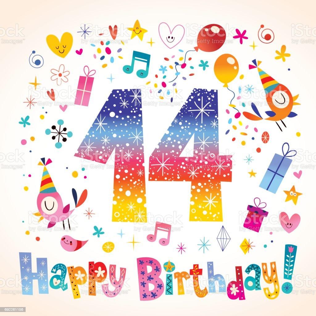 Happy Birthday 14 Jahre Teen Grußkarte Stock Vektor Art Und Mehr
