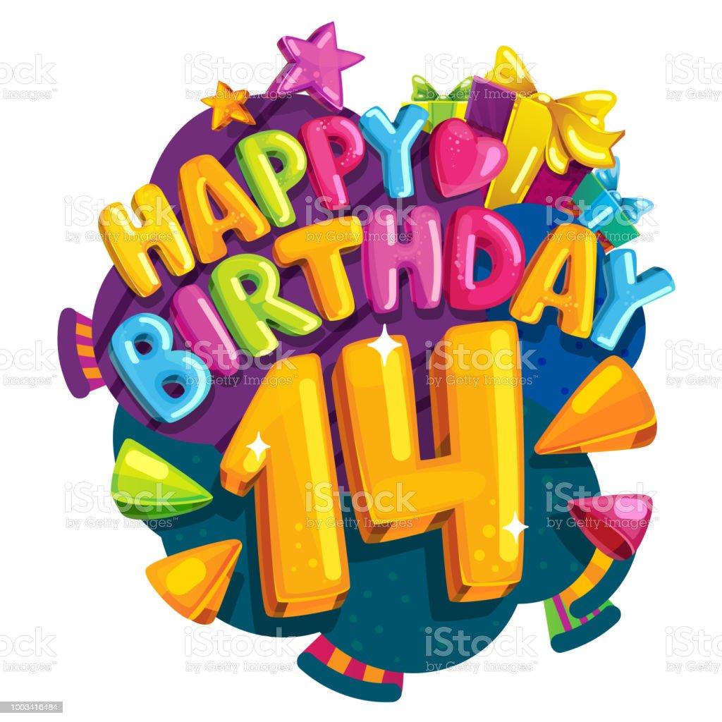 Alles Gute Zum Geburtstag 14 Jahre Stock Vektor Art Und Mehr Bilder