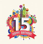 Happy birthday 15 year greeting card poster color
