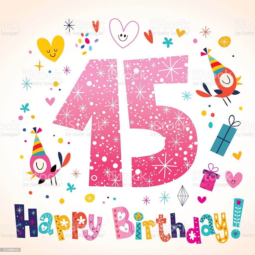 Happy Birthday 15 years kids greeting card vector art illustration