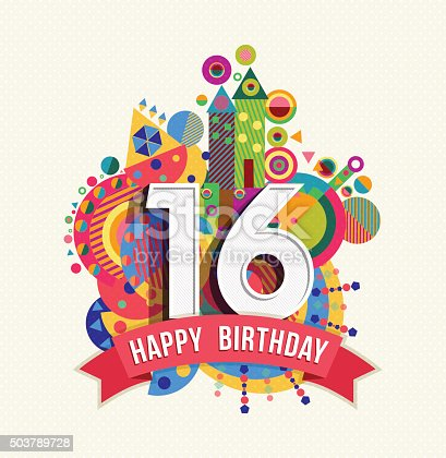 istock Happy birthday 16 year greeting card poster color 503789728