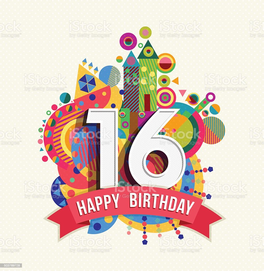 Happy birthday 16 year greeting card poster color vector art illustration